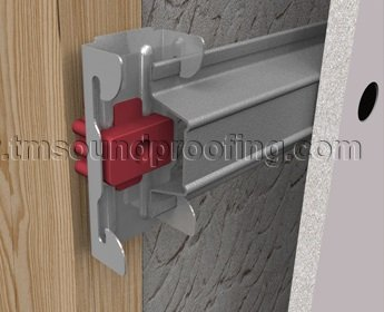 Silent Clip with Hat Channel Installed on Wooden Stud and Drywall System