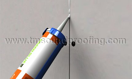 Acoustical Caulk Used on Perimeter of Room for Superior Soundproofing
