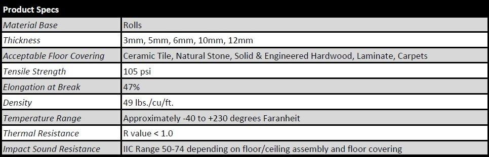 TMS Floor Underlayment Product Specs
