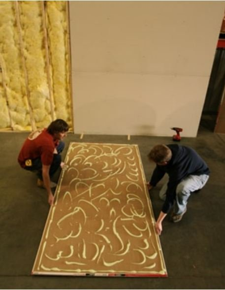 Apply Green Glue Noiseproofing Compound To Walls To Provide Damping For  Soundproofing Rooms